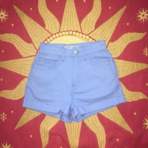 American Apparel Periwinkle High-Waisted Shorts